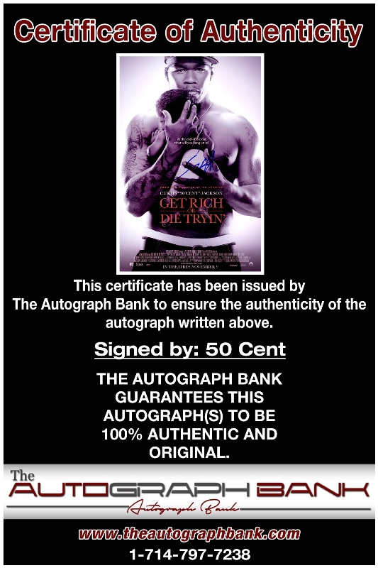 50 Cent proof of signing certificate