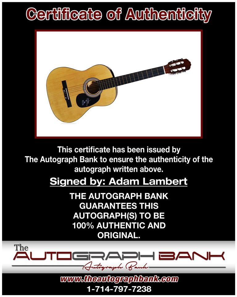 Adam Lambert proof of signing certificate