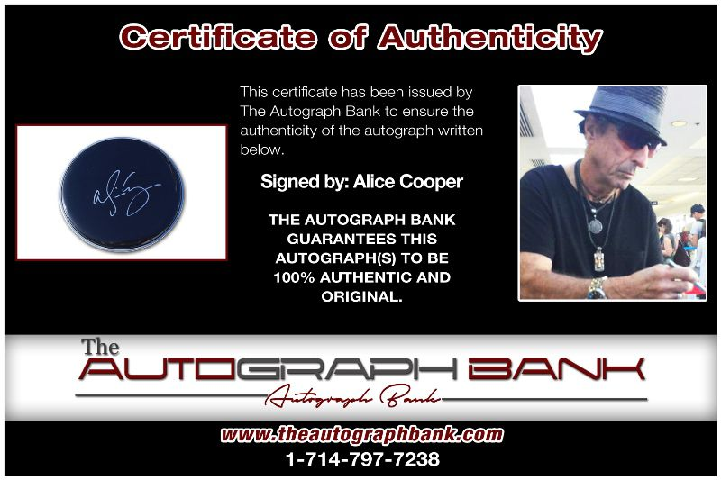 Alice Cooper proof of signing certificate