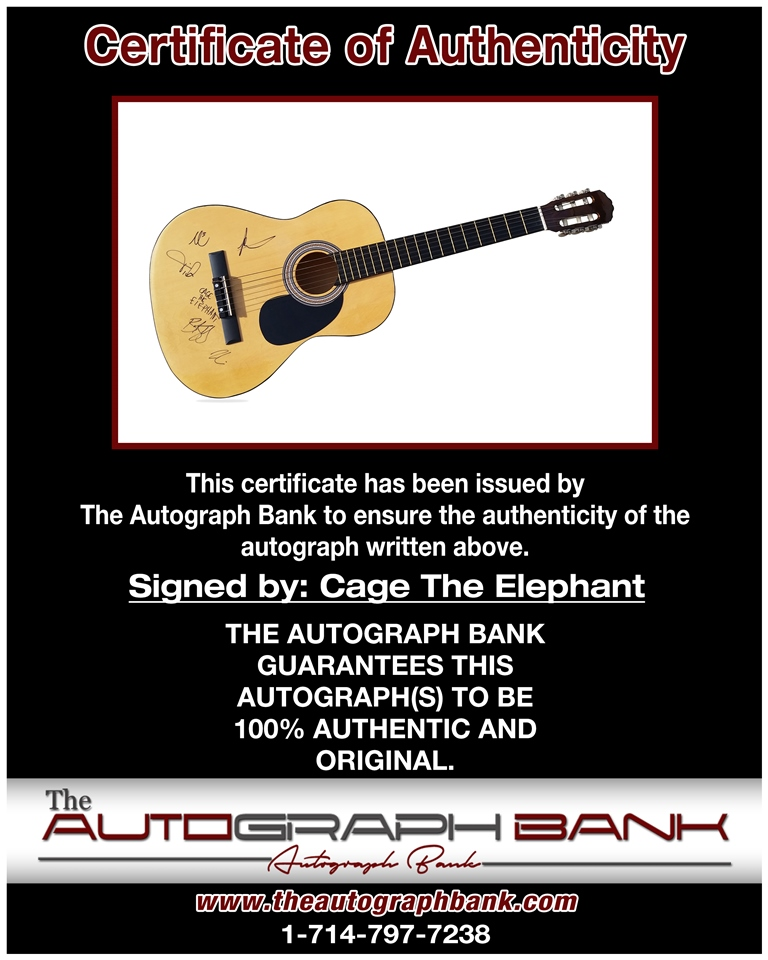 Cage The Elphant proof of signing certificate