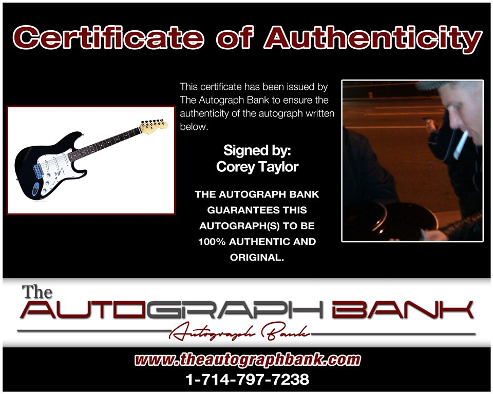 Corey Taylor proof of signing certificate