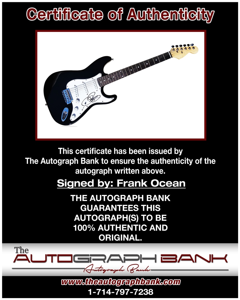 Frank Ocean proof of signing certificate