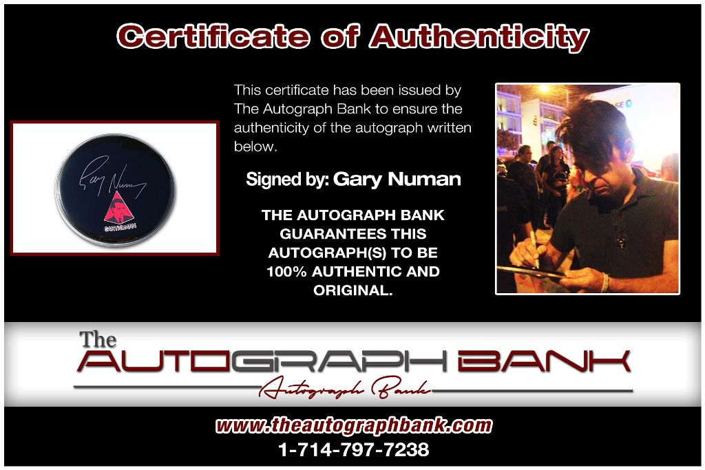 Gary Numan proof of signing certificate