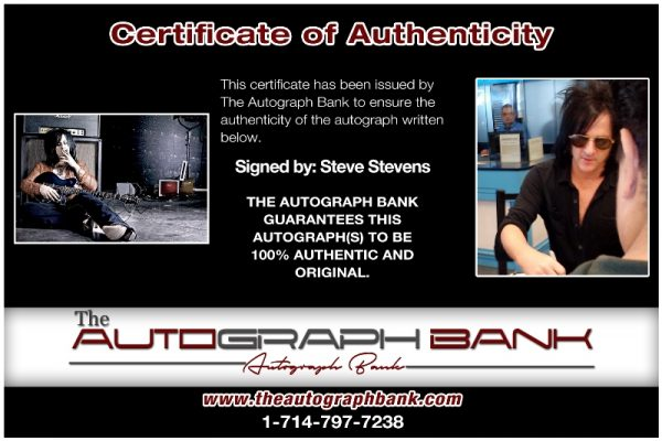Steve Stevens certificate of authenticity from the autograph bank
