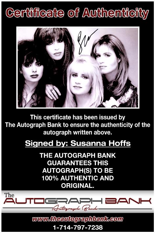 Susanna Hoffs proof of signing certificate