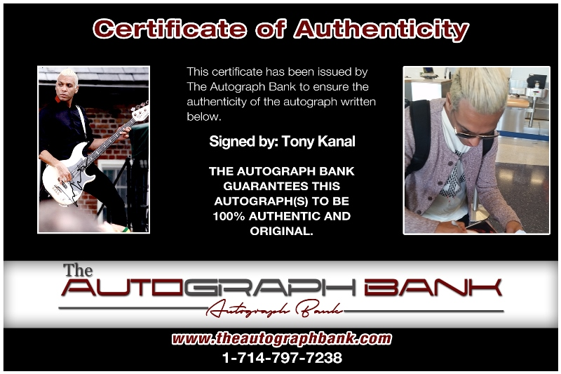 Tony Kanal of No DOubt proof of signing certificate