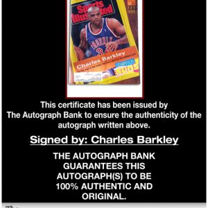 Charles Barkley certificate of authenticity from the autograph bank