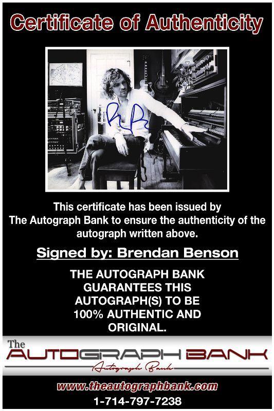 Brendan Benson proof of signing certificate