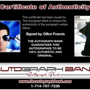 Dillion Francis proof of signing certificate