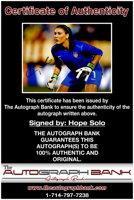 Hope Solo proof of signing certificate
