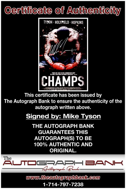 Mike Tyson proof of signing certificate