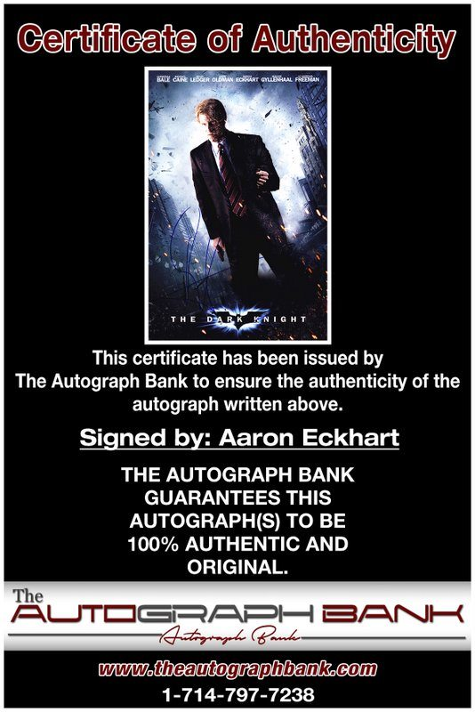 Aaron Eckhart proof of signing certificate