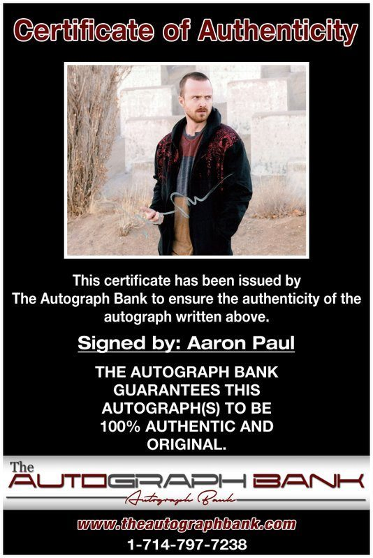 Aaron Paul certificate of authenticity from the autograph bank