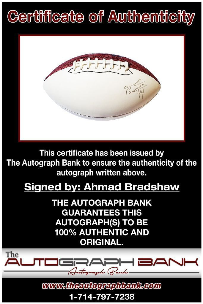 Ahmad Bradshaw proof of signing certificate