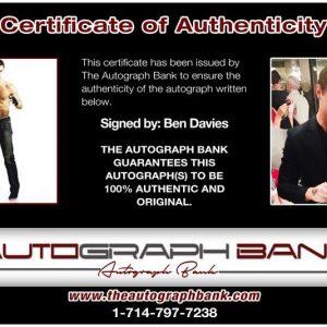 Ben Davies proof of signing certificate