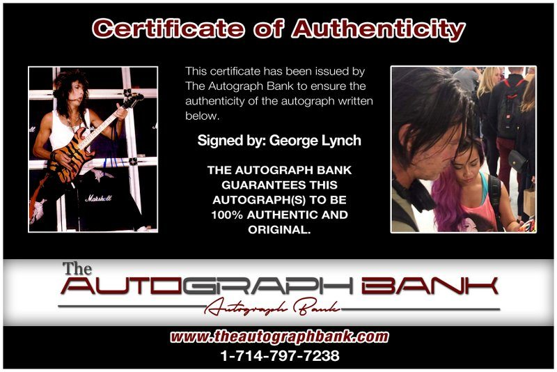 George Lynch certificate of authenticity from the autograph bank