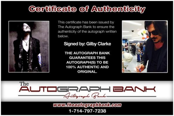 Gilby Clarke proof of signing certificate