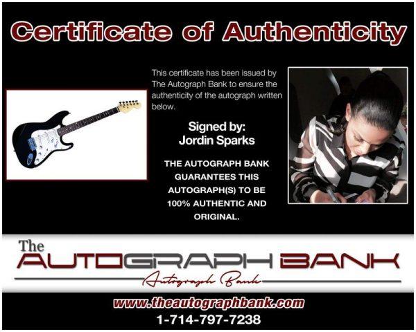 Jordin Sparks proof of signing certificate