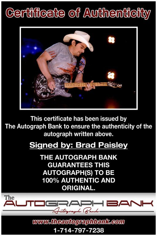 Brad Paisley proof of signing certificate