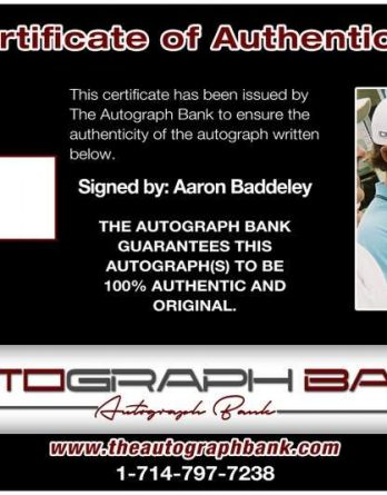 Aaron Baddeley certificate of authenticity from the autograph bank