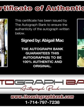 Abigail Mac certificate of authenticity from the autograph bank