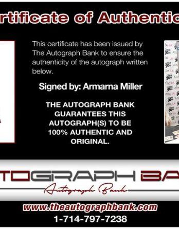 Armarna Miller certificate of authenticity from the autograph bank