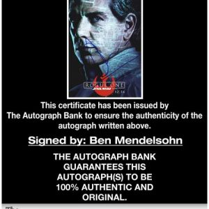 Ben Mendelsohn certificate of authenticity from the autograph bank