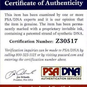 Danny Elfman certificate of authenticity from the autograph bank