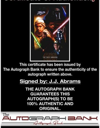 J.J. Abrams certificate of authenticity from the autograph bank