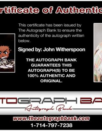John Witherspoon certificate of authenticity from the autograph bank