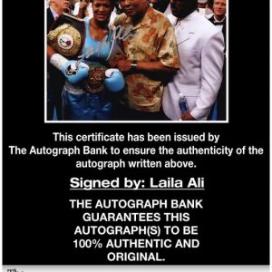 Laila Ali certificate of authenticity from the autograph bank