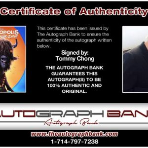 Tommy Chong certificate of authenticity from the autograph bank