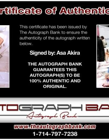 Asa Akira certificate of authenticity from the autograph bank