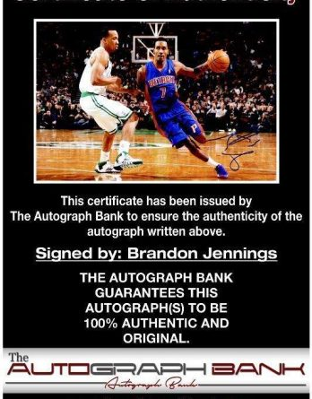 Brandon Jennings certificate of authenticity from the autograph bank