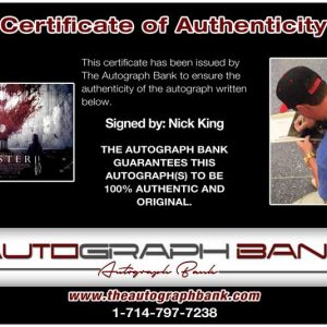 Nicholas King certificate of authenticity from the autograph bank