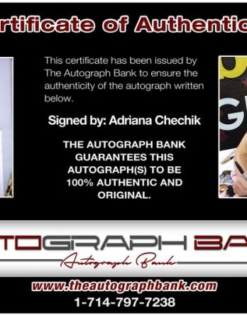 Adriana Chechik certificate of authenticity from the autograph bank
