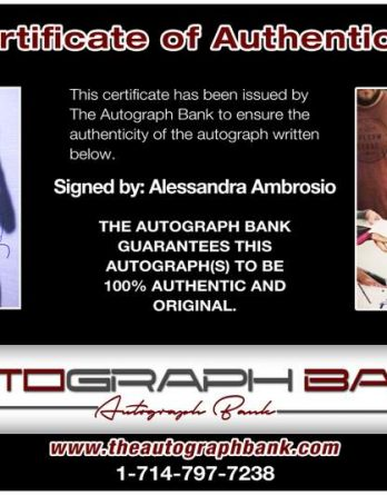 Alessandra Ambrosio certificate of authenticity from the autograph bank
