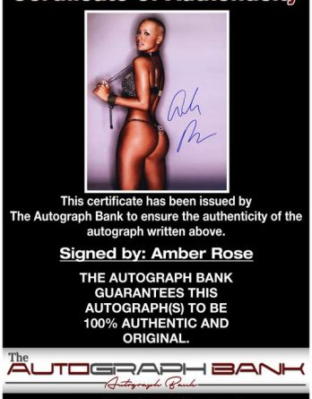 Amber Rose certificate of authenticity from the autograph bank