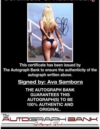 Ava Sambora certificate of authenticity from the autograph bank