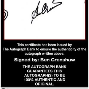 Ben Crenshaw certificate of authenticity from the autograph bank
