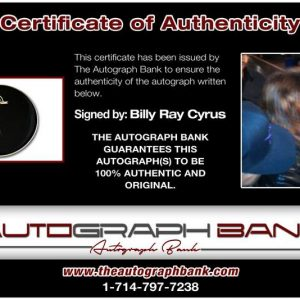 Billy Ray Cyrus certificate of authenticity from the autograph bank