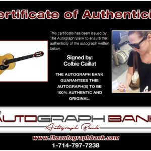 Colbie Caillat certificate of authenticity from the autograph bank