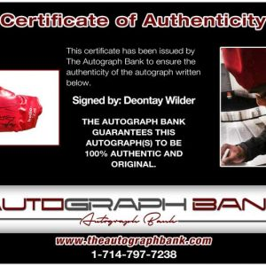 Deontay Wilder certificate of authenticity from the autograph bank