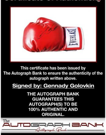 Gennady Gennadyevich certificate of authenticity from the autograph bank