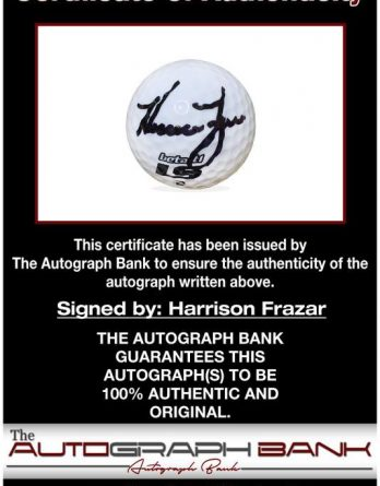 Harrison Frazar certificate of authenticity from the autograph bank