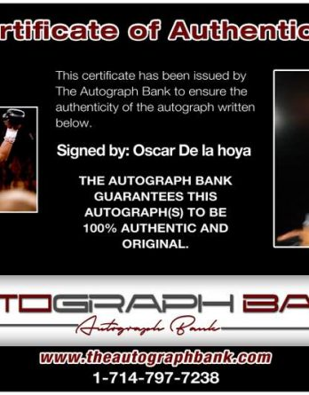 Oscar De La Hoya certificate of authenticity from the autograph bank
