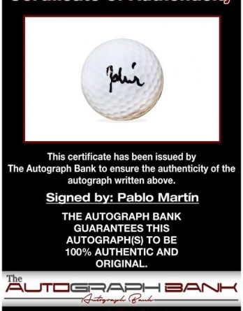 Pablo Martin certificate of authenticity from the autograph bank