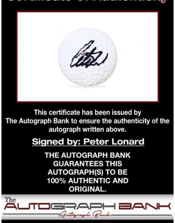 Peter Lonard certificate of authenticity from the autograph bank