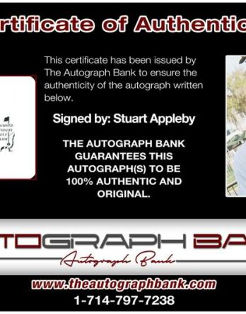 Stuart Appleby certificate of authenticity from the autograph bank