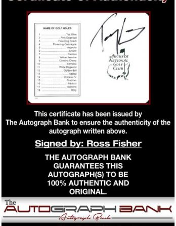 Tommy Armour certificate of authenticity from the autograph bank